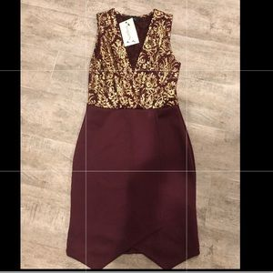 Gold and Burgundy Dress